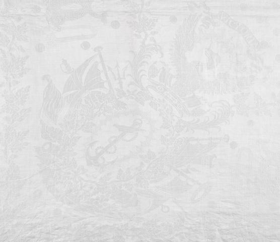 A Trafalgar commemorative tablecloth. 158x106ins. (408x269cm)
