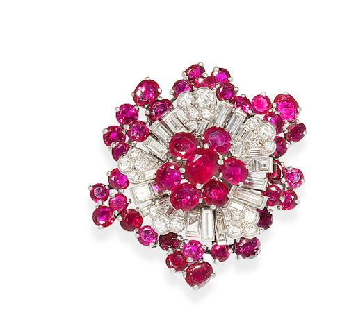 A ruby and diamond clip brooch, by Cartier,
