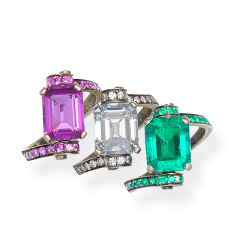 A set of three gem-set 'Ruban' rings, by Fabio Salini (3)