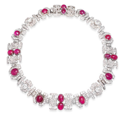 An art deco ruby and diamond necklace,