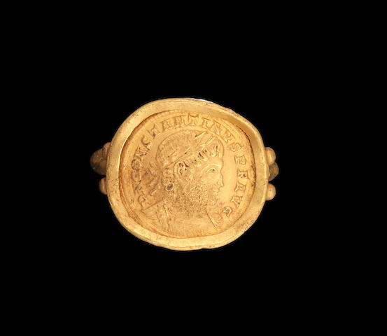 A Late Roman gold ring set with a coin of Constantine the Great