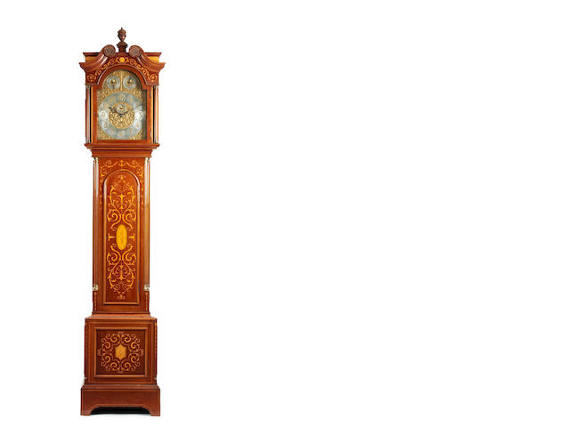 An impressive Edwardian inlaid mahogany 8 day 4 tune musical longcase clock Anonymous