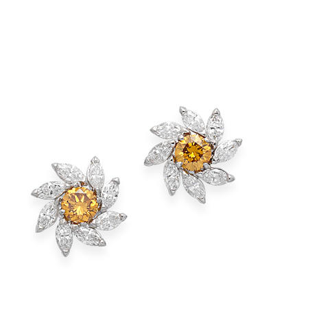 A pair of fancy-coloured diamond and diamond earstuds