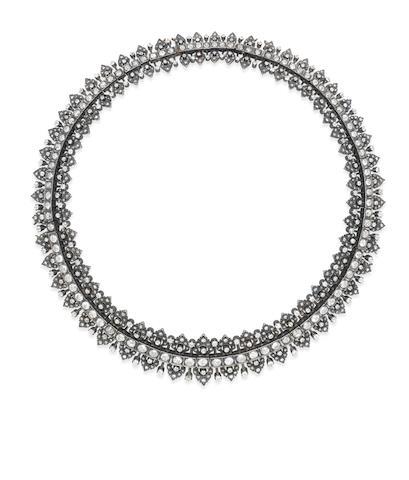 A diamond fringe necklace/tiara,