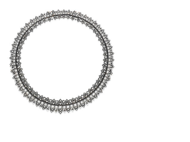 A diamond fringe necklace/tiara,