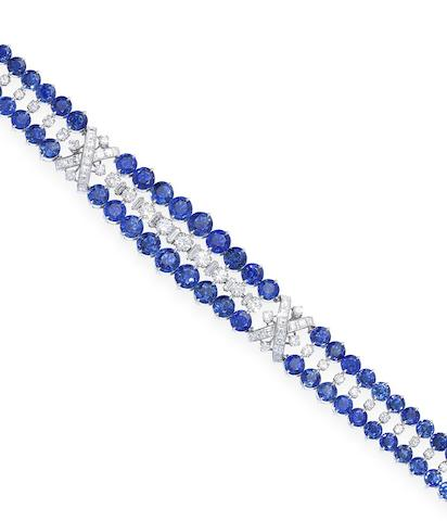 A sapphire and diamond bracelet, by Cartier, (2)