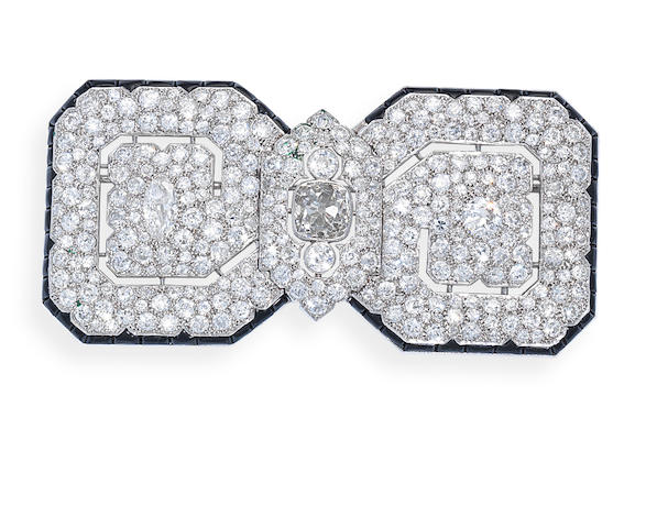 An art deco onyx and diamond brooch, by Cartier,