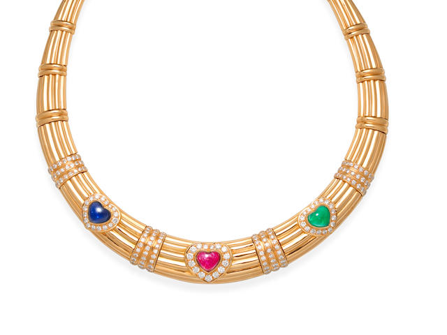 A gem-set collar necklace, by Adler