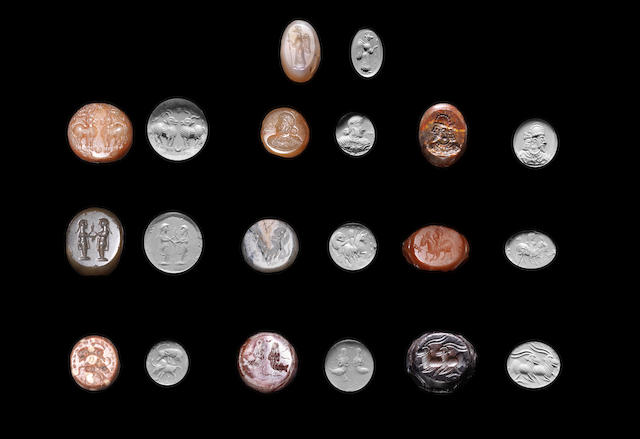Ten Sasanian domed-shaped stamp seals 10