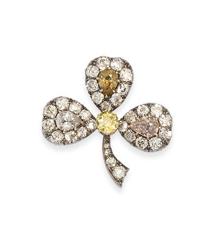 A late 19th century diamond and coloured diamond trefoil brooch