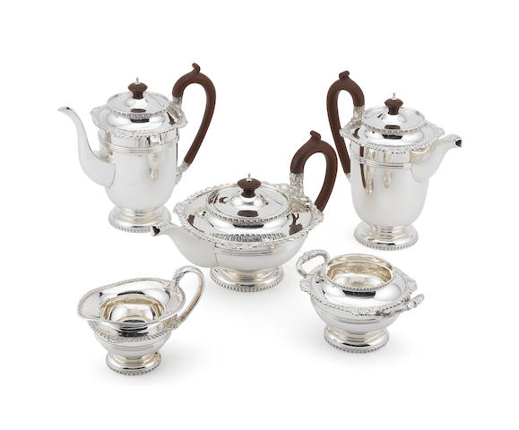 A William IV style five-piece silver tea and coffee service  by Walker & Hall, Sheffield 1948  (5)
