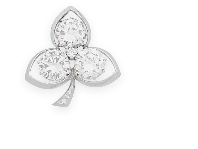 A diamond trefoil brooch