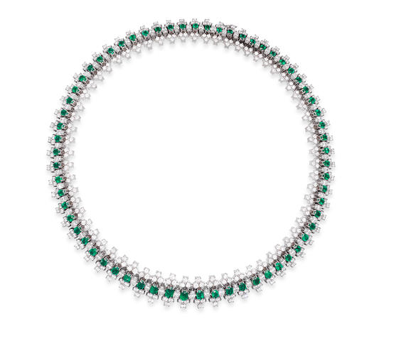 An emerald and diamond collar necklace