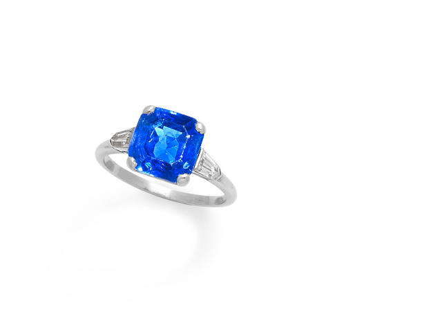 An art deco sapphire and diamond ring, by Cartier,