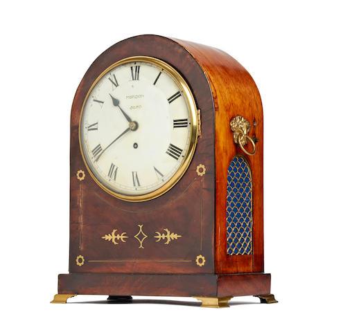 A Regency brass inlaid mahogany bracket timepiece The dial signed Morson, Soho