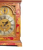 A good 18th century twin fusee bracket clock, with red lacquer 'Chinoiserie' decoration William Webster, Exchange Alley, London
