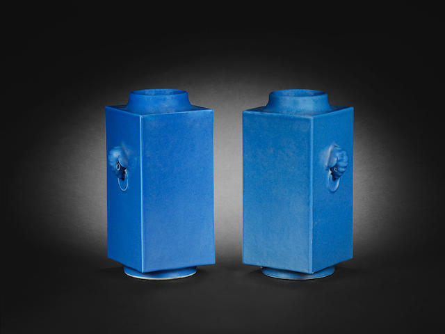 A pair of blue-glazed square vases, cong Guangxu six-character marks and of the period