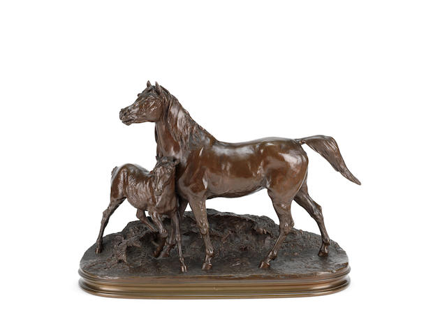 Pierre-Jules Mêne (French, 1810-1879): A bronze model of Jument Normande et Son Poulain