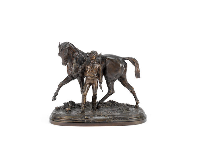 Pierre-Jules Mêne (French, 1810-1879): A bronze equestrian model of Vainquer !!!