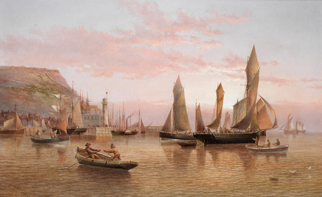 Henry Redmore (British, 1820-1887) The harbour and lighthouse, Scarborough