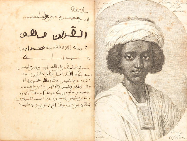 An unusual Qur'an manuscript, written from memory by Ayub bin Suleyman (Job, son of Solomon), a former slave, originally from the kingdom of Foota (modern Senegal), who had escaped from his owners in Maryland and made his way to England Probably England, dated AD 1733 on last page(2)