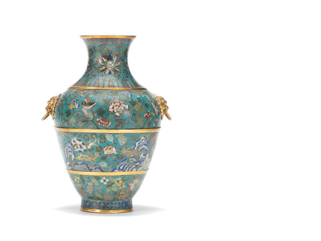 A cloisonné enamel baluster vase Cast Qianlong seal mark and of the period