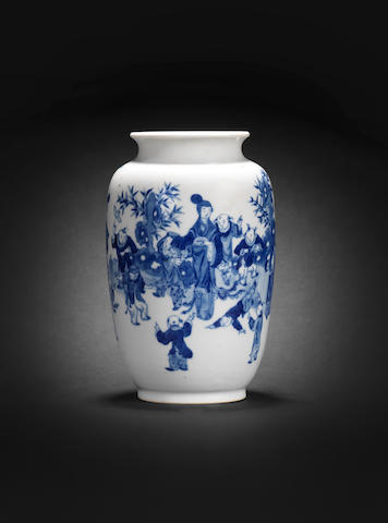 A blue and white 'lantern' vase Qianlong seal mark