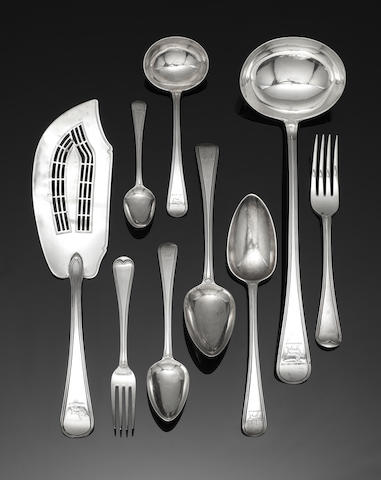 A George III silver single struck Old English Thread pattern table service of flatware by Richard Crossley & George Smith IV, London 1790