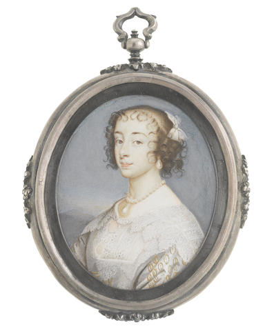 John Hoskins (British, circa 1590-1664) Henrietta Maria of France (1609-1669), Queen Consort of England, Scotland and Ireland (1625-1649), wearing white figured dress, white lace collar and fill-in, a large teardrop pearl suspended from her pearl necklace, matching pendant earring, her hair upswept, curled and dressed with a white ribbon bow, landscape background