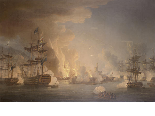 Thomas Whitcombe (British, 1760-1824) The Bombardment of Algiers, 27th August 1816