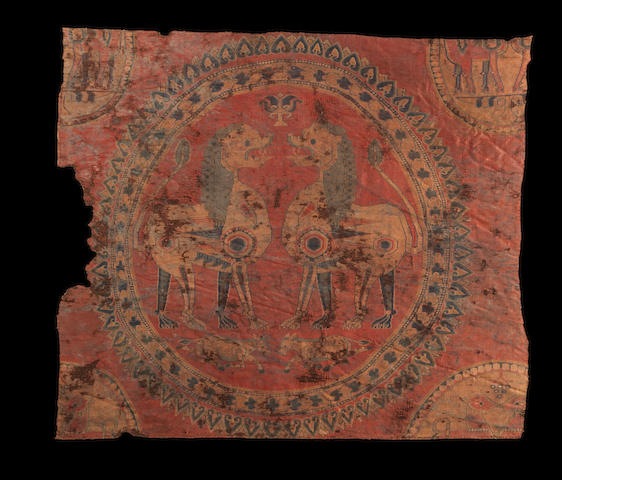 A fine woven silk Textile Fragment depicting lions Sogdiana, Central Asia, circa 8th Century