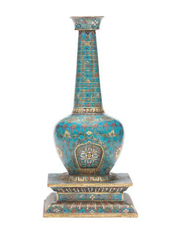 A rare cloisonné enamel stupa 18th century
