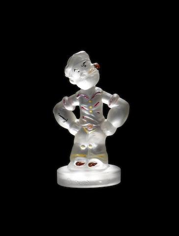 A Popeye glass mascot, by the American Cut Crystal Co. of Italy, 1960s,