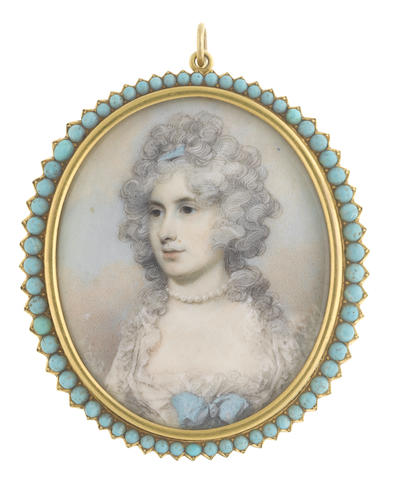 George Engleheart (British, 1750-1829) A Lady, wearing pearl necklace and white dress, a turquoise ribbon bow to her corsage, her powdered hair dressed with a matching turquoise bandeau