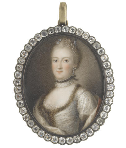 Scandinavian School, circa 1760 A Lady, wearing white figured dress trimmed with fur over her lace slip, white lace and black ribbon choker, diamond and pearl pendant earring, her hair upwsept and dressed with further pearls and diamonds, a red cloak lined with white draped about her