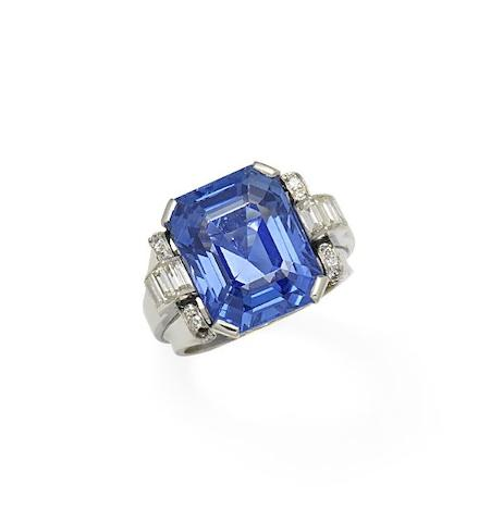 A sapphire and diamond ring,