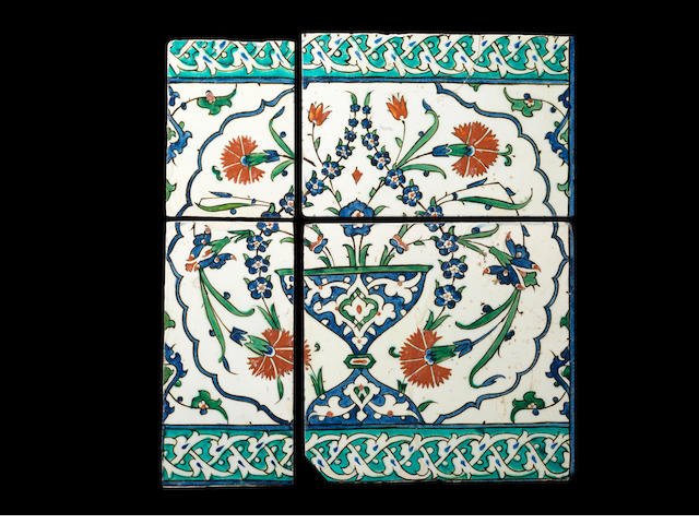 An Iznik pottery tile Panel  Turkey, late 16th Century