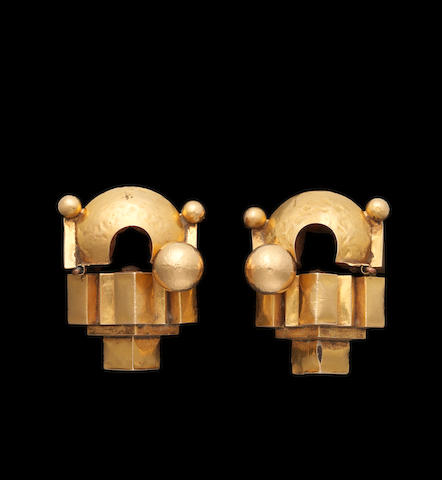A pair of gold-sheet Ear Ornaments (Thandatti) South India, 19th/20th Century(2)