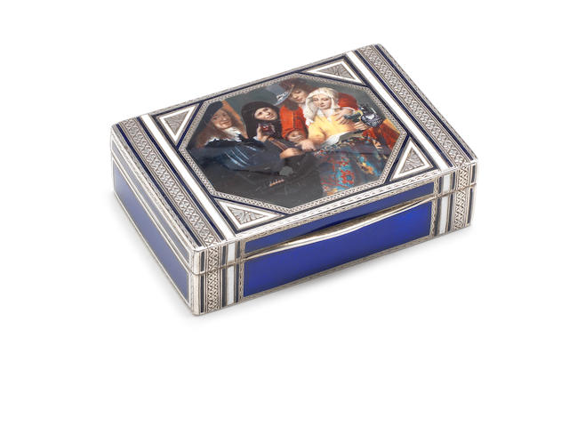 A late 19th century Continental  enamel and metalware box apparently unmarked