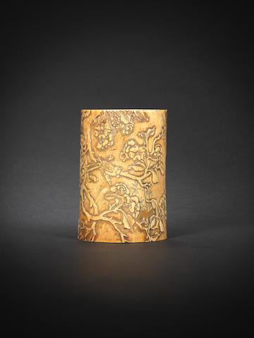 A rare ivory brushpot, bitong 16th/17th century