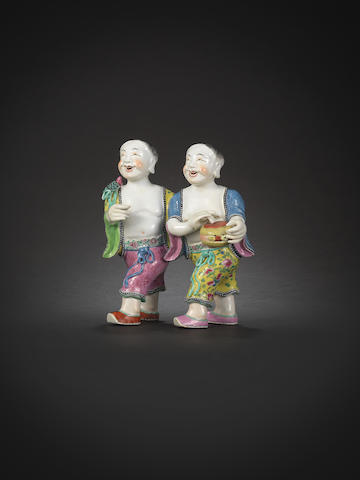 A famille rose figural group of the 'Laughing Twins', Hehe Erxian Jiaqing