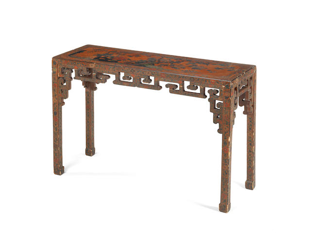 An incised and painted lacquer table 19th century