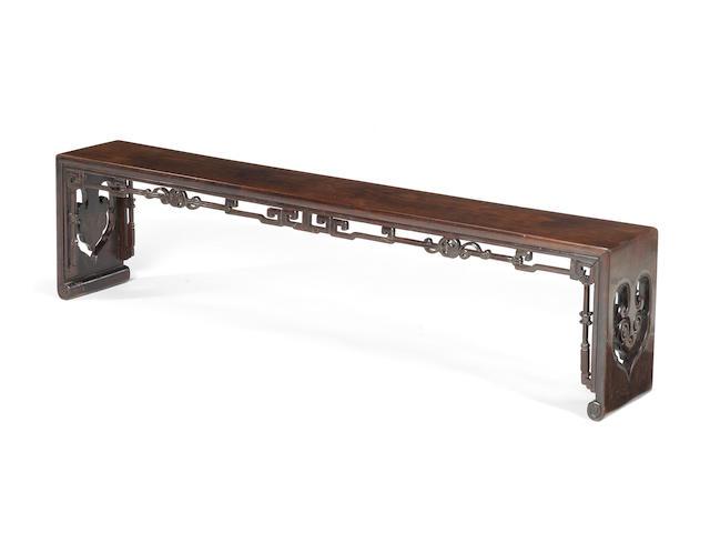 A fine zitan bench 18th/19th century