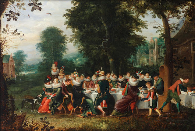 Workshop of David Vinckboons (Malines 1576-1629 Amsterdam), and Abraham Govaerts (Antwerp 1589-1626) Elegant figures seated at a banquet table in a wooded clearing