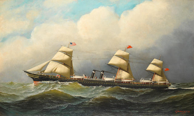 Antonio Nicolo Gasparo Jacobsen (American, 1850-1921) The S.S. City of Richmond at sea 21-3/4 x 36 in. (55.2 x 91.4 cm.)