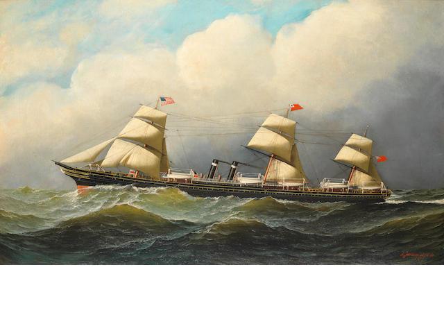 Antonio Nicolo Gasparo Jacobsen (American, 1850-1921) The S.S. City of Richmond at sea 21-3/4 x 36 in. (55.2 x 91.4 cm.)
