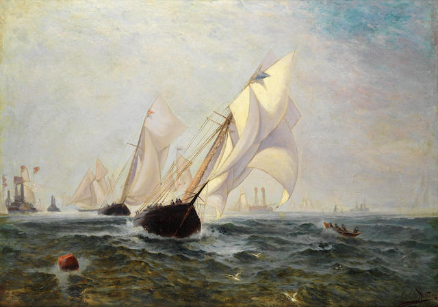 Colin Hunter, ARA RI RSW RE (British, 1841-1904) America's Cup, the third Challenge 1876. New York Yacht Club's schooner Madeleine leading the Royal Canadian Yacht Club's Countess of Dufferin.