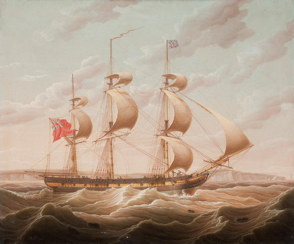 Robert Salmon (British, 1775-1845) An armed merchantman running up the Channel