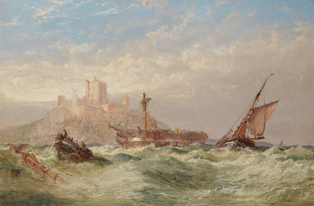 Arthur Wilde Parsons (British, 1854-1931) A rescue off Bamburgh Castle, Northumberland