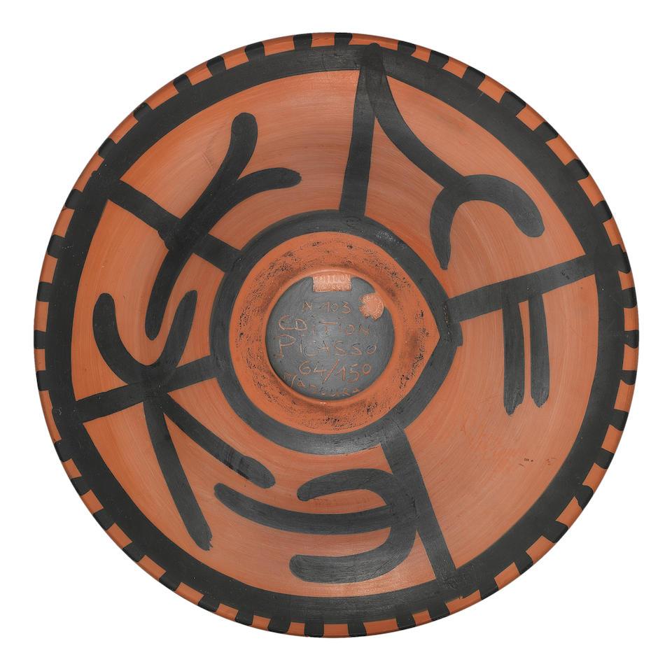 Pablo Picasso (1881-1973) Hibou rouge sur fond noir 44.3cm (17 7/16in) diameter